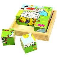 Bigjigs Obrázkové drevené kocky - Zvieratká - Obrázkové kocky