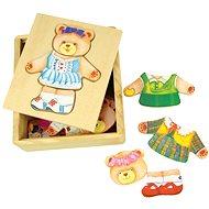 Bigjigs Drevené oblékací puzzle v krabičke - Pani Medvedica - Puzzle