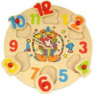 Drevené vkladacie puzzle - Hodiny s klaunom - Puzzle