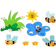 Drevená dekorácia - Zostavy dekorácií lúka a včielky - Dekorácia do detskej izby
