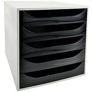 EXACOMPTA 5-zásuvkový, transparentní černý - Zásuvkový box