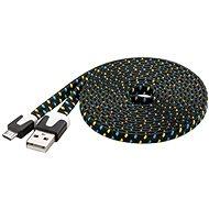 PremiumCord Kábel micro USB 2.0 prepojovací AB 2m plochý čierno-modro-žltý - Dátový kábel