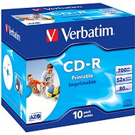 Verbatim CD-R Imprimable AZO 52x, Printable 10ks v krabičke - Médiá