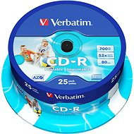 Verbatim CD-R DataLife Protection 52x, Printable 25 ks cakebox - Médiá