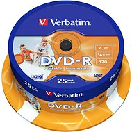 Verbatim DVD-R 16x, Printable 25 ks cakebox - Médiá