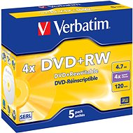 Verbatim DVD + RW 4x, 5ks v krabičke - Médiá