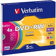 Verbatim DVD + RW 4x, COLOURS 5 ks v SLIM krabičke - Médiá
