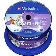 Verbatim DVD+R 16x, Printable 50 ks cakebox - Médiá