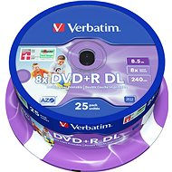 Verbatim DVD+R 8x Dual Layer Printable 25 ks cakebox - Médiá