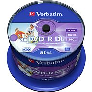 Verbatim DVD + R 8x, Dual Layer Printable 50ks CakeBox - Médiá