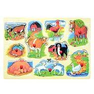 Woody Puzzle na doske - Farma s mláďatami - Puzzle