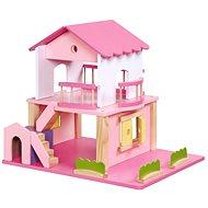 Drevený domček pre bábiky - ružový - Doplnok pre bábiky