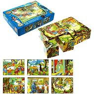 Topa drevené kocky kubus - Snehulienka 12 ks - Obrázkové kocky