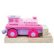 Bigjigs Elektrická lokomotiva - Mašinka růžová - Príslušenstvo k vláčikodráhe