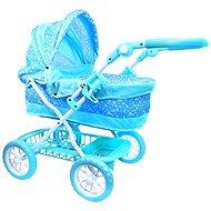 Rappa Kočík modrý s vločkami - Kočík pre bábiky