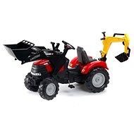 Traktor červený Case IH Puma s prednou i zadnou lyžicou - Šliapací traktor