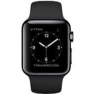 Apple Watch 38 mm Vesmírne čierna nehrdzavejúca oceľ s čiernym remienkom - Inteligentné hodinky