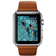 Apple Watch 42mm antikorová sa sedlovo hnedým remienkom s klasickou prackou - Inteligentné hodinky