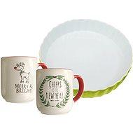 By-inspire 3-dílná Vánoční sada čajových hrnků a zapékací mísy