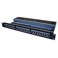 Datacom, 24x RJ45, priamy, CAT6, STP, čierny, 1U - Patch panel