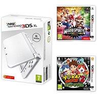 Nintendo NEW 3DS XL Pearl White + Mario Sports Superstars + YO-KAI WATCH 2: Bony Spirits - Herná konzola