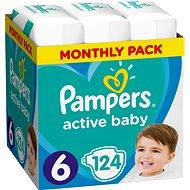PAMPERS Active Baby - Dry vel. 6 Extra Large (124 ks) - mesačné balenie - Detské plienky