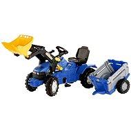 Farmtrac modrý s vlekom a predným nakladačom - Šliapací traktor