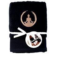 Sleep well 50 × 100cm / výšivka joga - rovnováha / čierny - Uterák