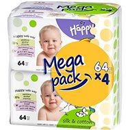 HAPPY Baby hodváb a bavlna (4x64 ks) - Vlhčené obrúsky