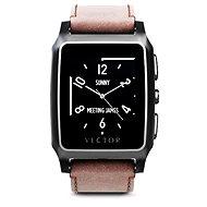 Vector Meridian brúsená čierna s hnedým koženým remienkom Small Fit - Inteligentné hodinky
