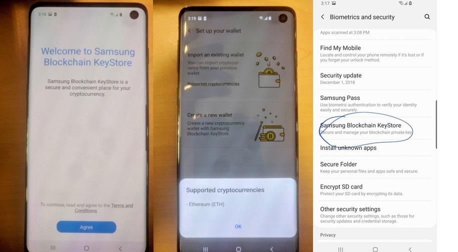 Samsung Galaxy S10, peňaženka na kryptomeny