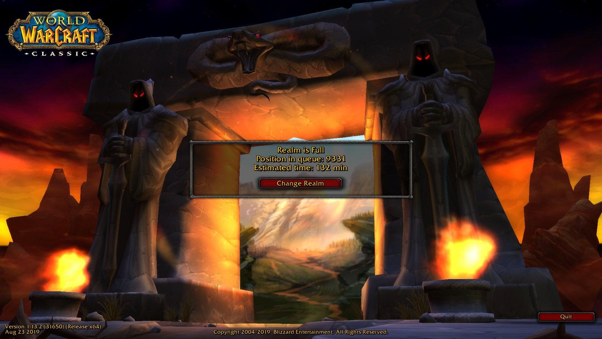 World of Warcraft Classic; screenshot: čakanie