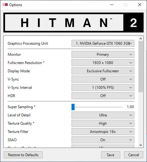 Hitman 2 nastavenie testu 1