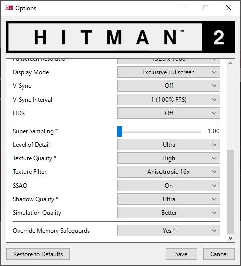Hitman 2 nastavenie 2