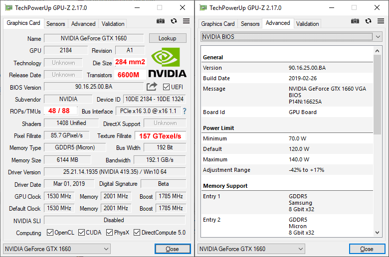 Inno3D GTX 1660 TWIN X2 GPUZ