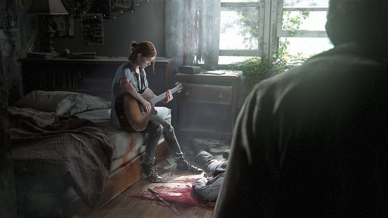 The Last of Us: Part 2; screenshot, Ellie, guitar