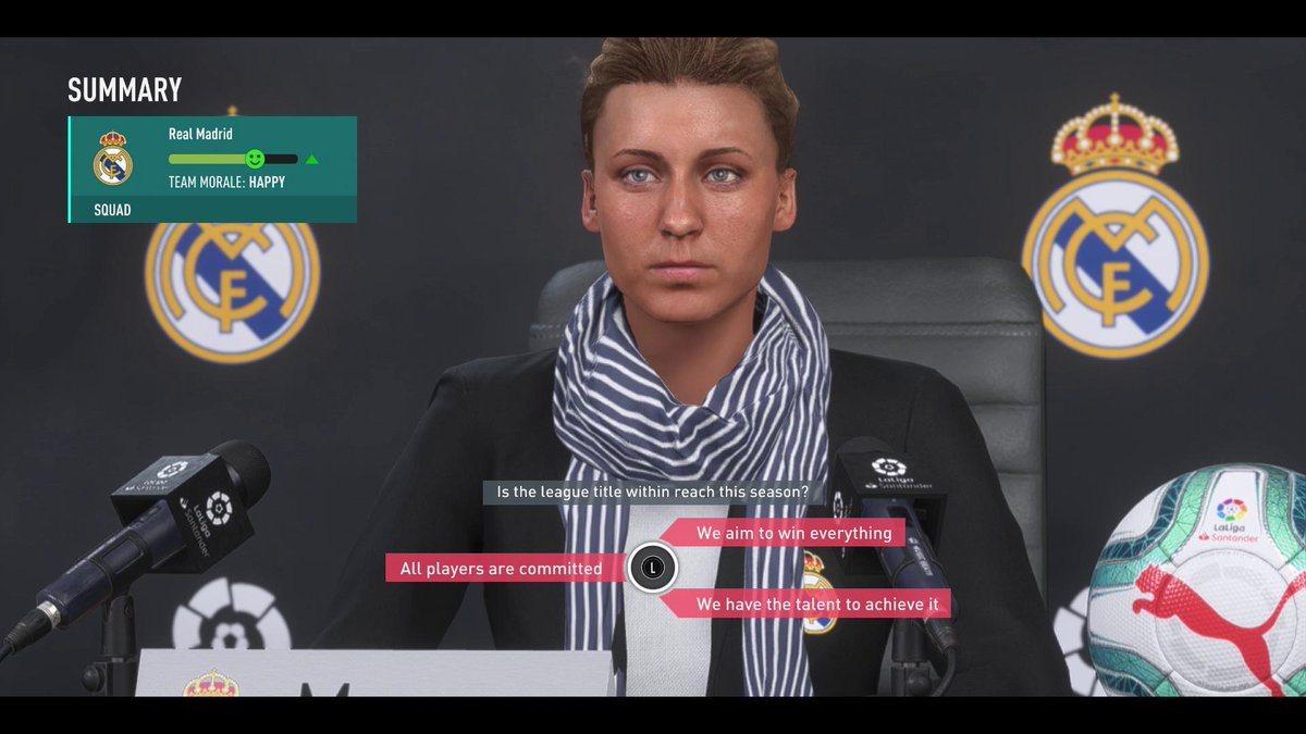 FIFA 20; screenshot: trénerka