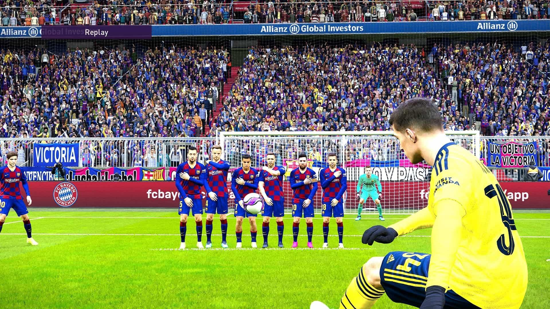 eFootball PES 2020; gameplay: priamy kop