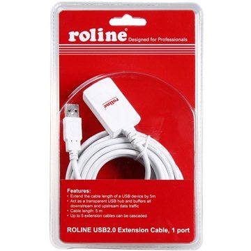 Roline USB 2.0 predlžovací 5 m A-A aktívny biely (7611990179909)
